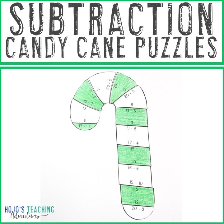 SUBTRACTION Candy Cane Puzzles for 1st, 2nd, or 3rd Grade