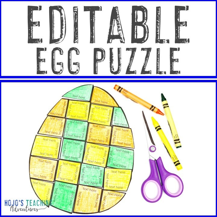 EDITABLE Egg Puzzle for Elementary or Middle School