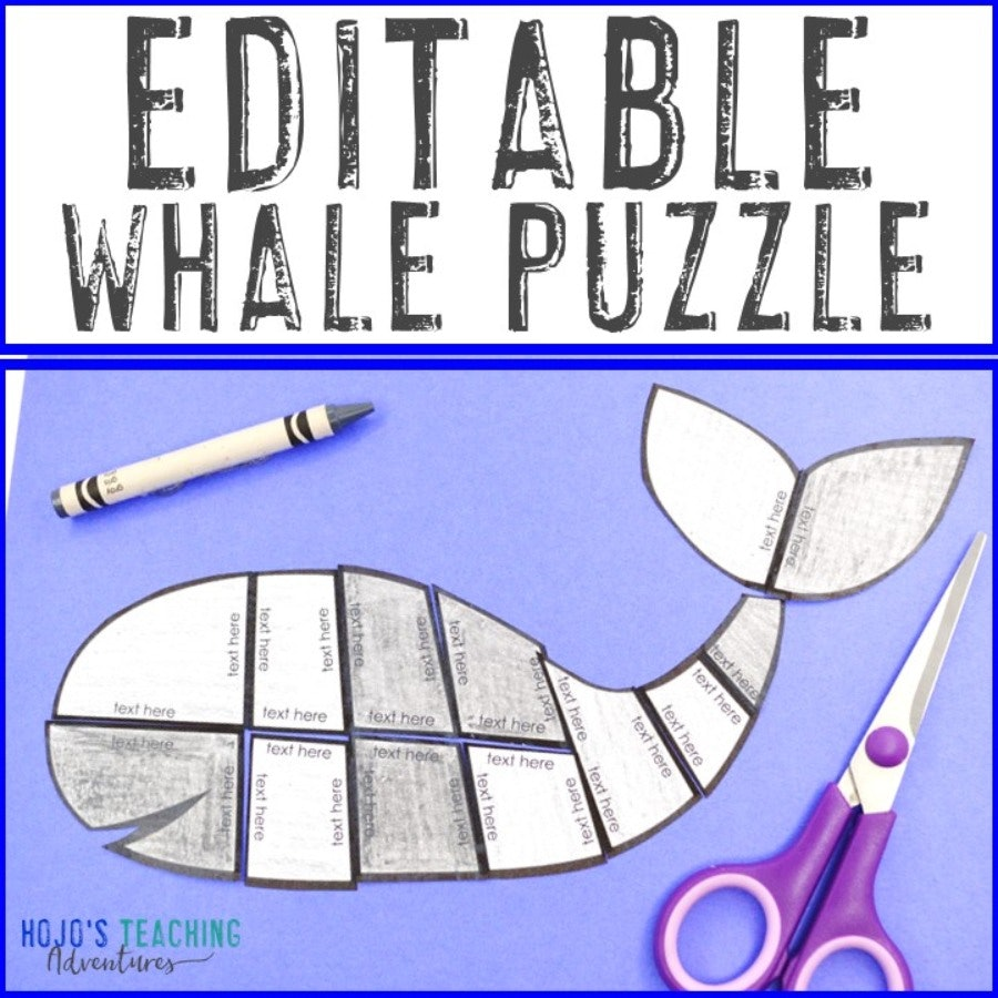 EDITABLE Whale Puzzle for Elementary & Middle School