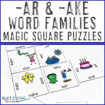 AR and AKE Word Families Magic Square Puzzle