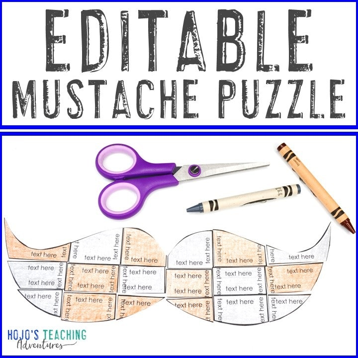 EDITABLE Mustache Puzzle for Elementary or Middle School Students