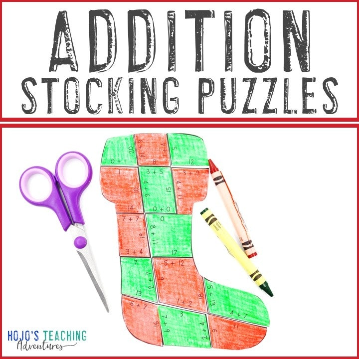 ADDITION Stocking Puzzles for 1st, 2nd, or 3rd Grade