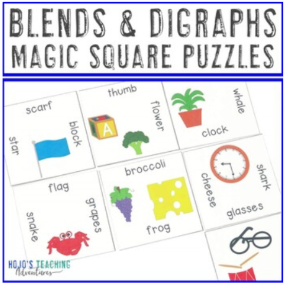 Blends and Digraphs Magic Square Puzzles