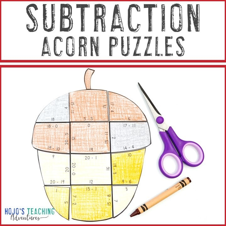 SUBTRACTION Acorn Puzzles for 1st, 2nd, or 3rd Grade