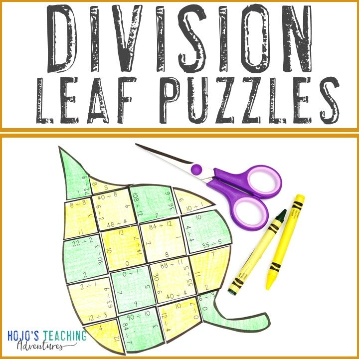 DIVISION Leaf Puzzles for 3rd, 4th, or 5th Grade Kids
