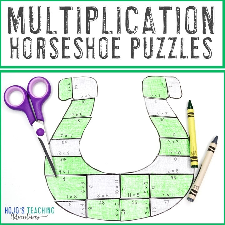 MULTIPLICATION Horseshoe Puzzles for 3rd, 4th, or 5th Grade