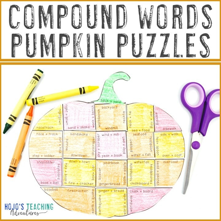 COMPOUND WORDS Pumpkin Puzzles for 3rd, 4th, and 5th Grade