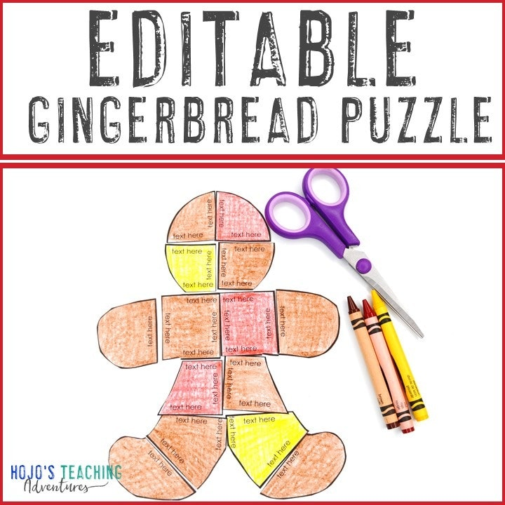 EDITABLE Gingerbread Puzzle for Elementary or Middle School Kids