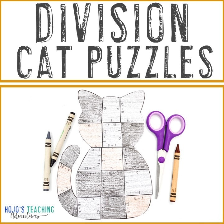 DIVISION Cat Puzzles for 3rd, 4th, or 5th Grade