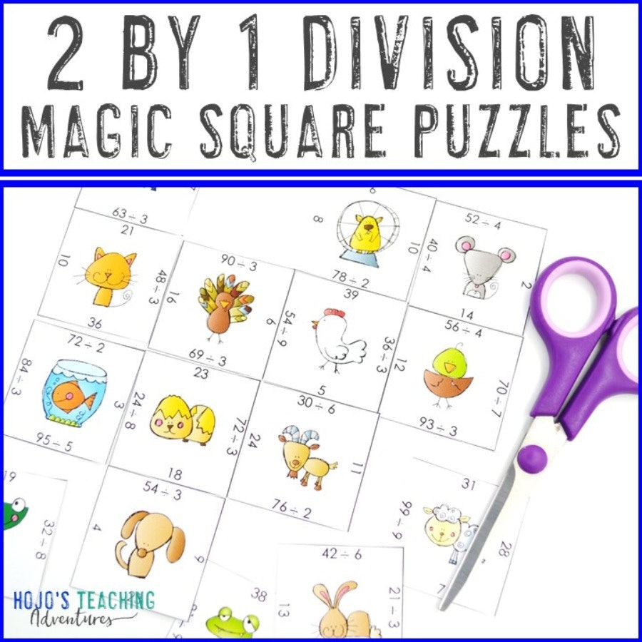 2 Digit by 1 Digit Division Magic Square Puzzles