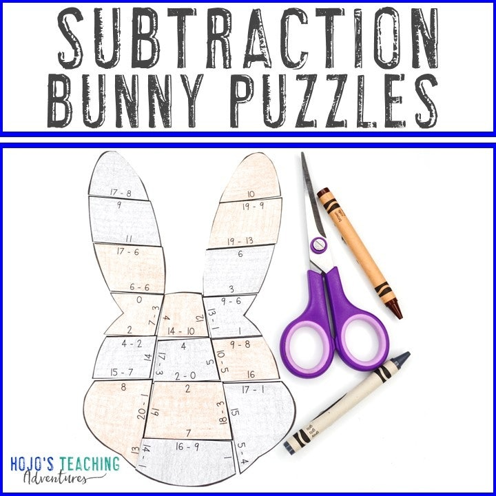 SUBTRACTION Bunny Puzzles for 1st, 2nd, or 3rd Grade