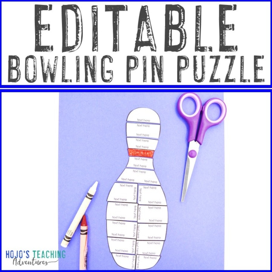 EDITABLE Bowling Pin Puzzle for Elementary or Middle School