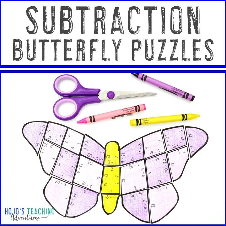 SUBTRACTION Butterfly Puzzles for 1st, 2nd, or 3rd Grade