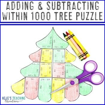 Adding and Subtracting within 1000 Christmas Tree