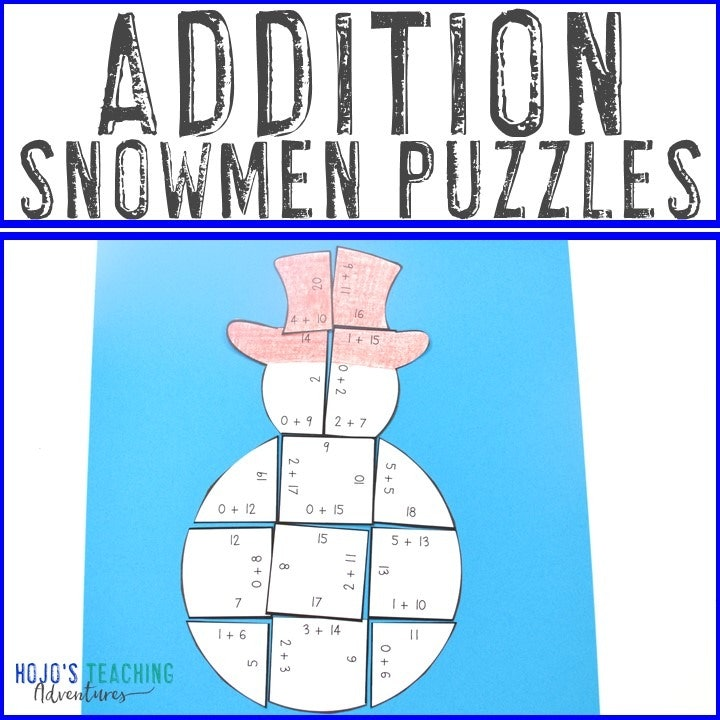 ADDITION Snowman Puzzles for 1st, 2nd, or 3rd Grade
