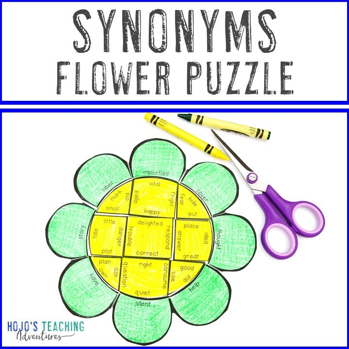 SYNONYMS Flower Puzzles for 2nd, 3rd, 4th, or 5th Grade