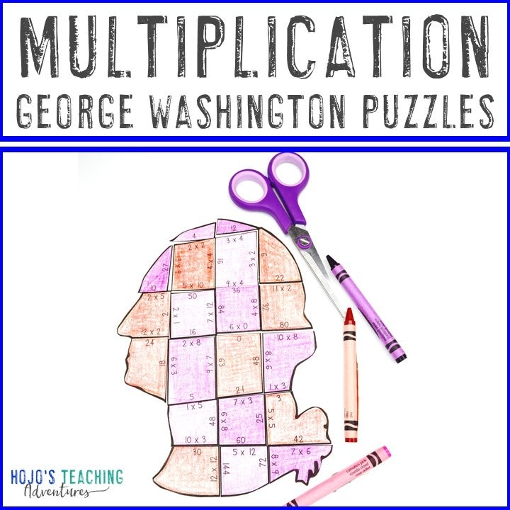 MULTIPLICATION President George Washington Puzzles for 3rd, 4th, & 5th Grade