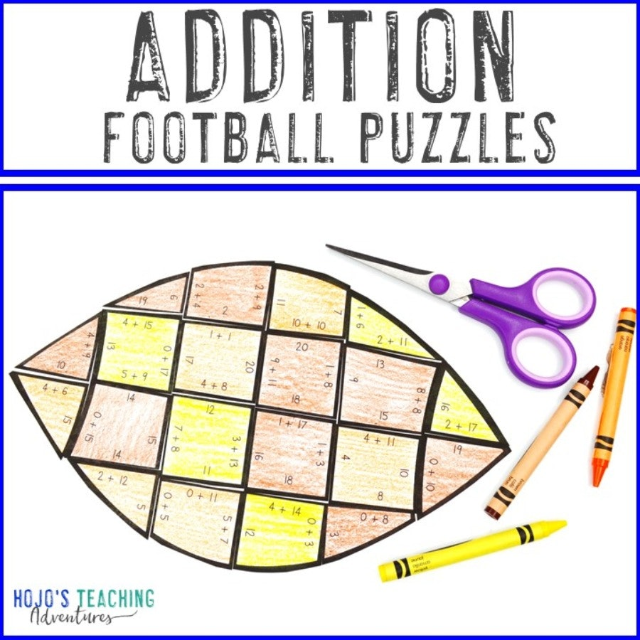 ADDITION Football Puzzles for 1st, 2nd, or 3rd Grade