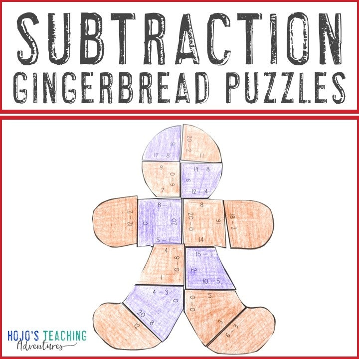 SUBTRACTION Gingerbread Puzzles for 1st, 2nd, or 3rd Grade