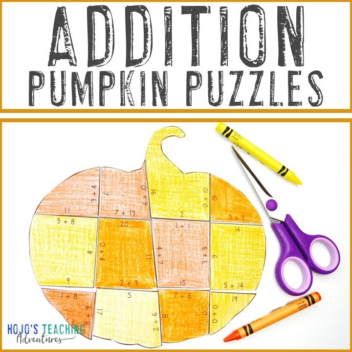 ADDITION Pumpkin Puzzles for 1st, 2nd, or 3rd Grade