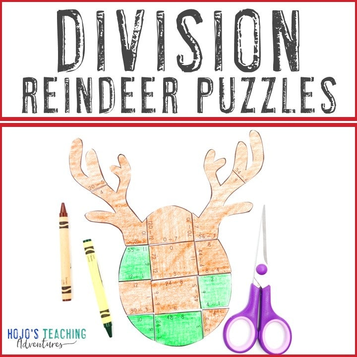 DIVISION Reindeer Puzzles for 3rd, 4th, or 5th Grade