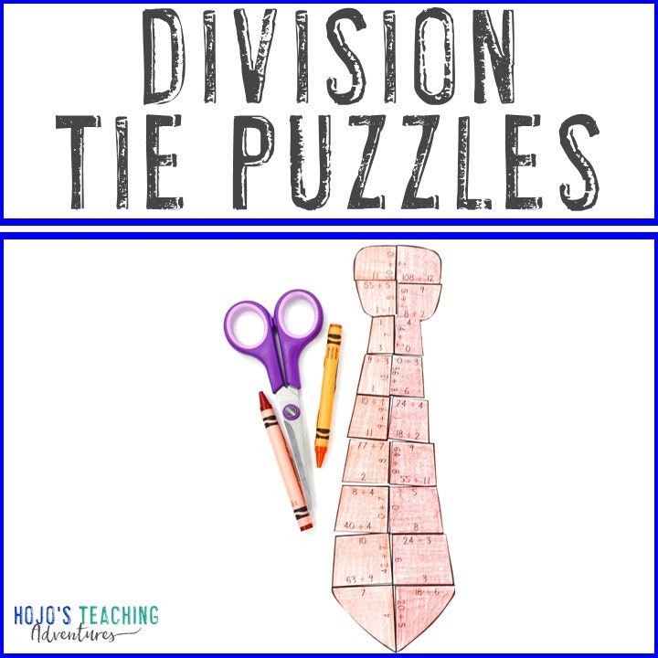 DIVISION Tie Puzzles for 3rd, 4th, or 5th Grade