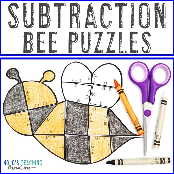 SUBTRACTION Bee Puzzles for 1st, 2nd, or 3rd Grade