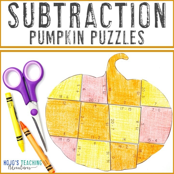 SUBTRACTION Pumpkin Puzzles for 1st, 2nd, or 3rd Grade