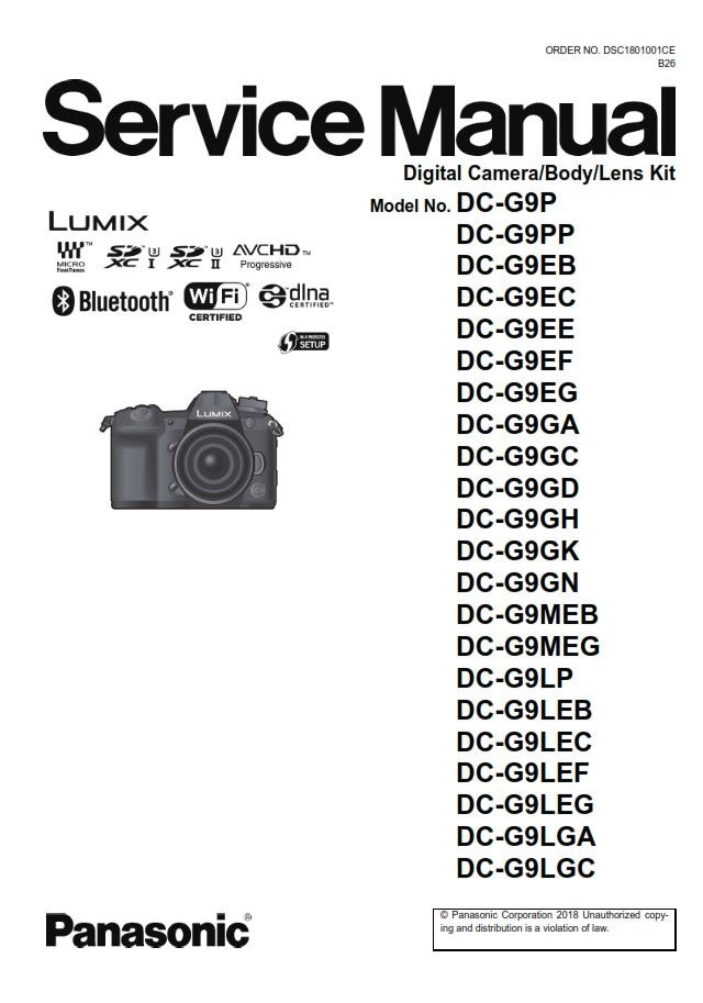 Panasonic Lumix DC G9 Service Manual and Repair Guide