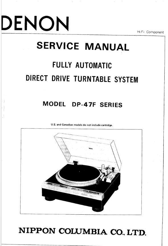 Denon DP 47F Turntable System Service Manual FREE DOWNLOAD