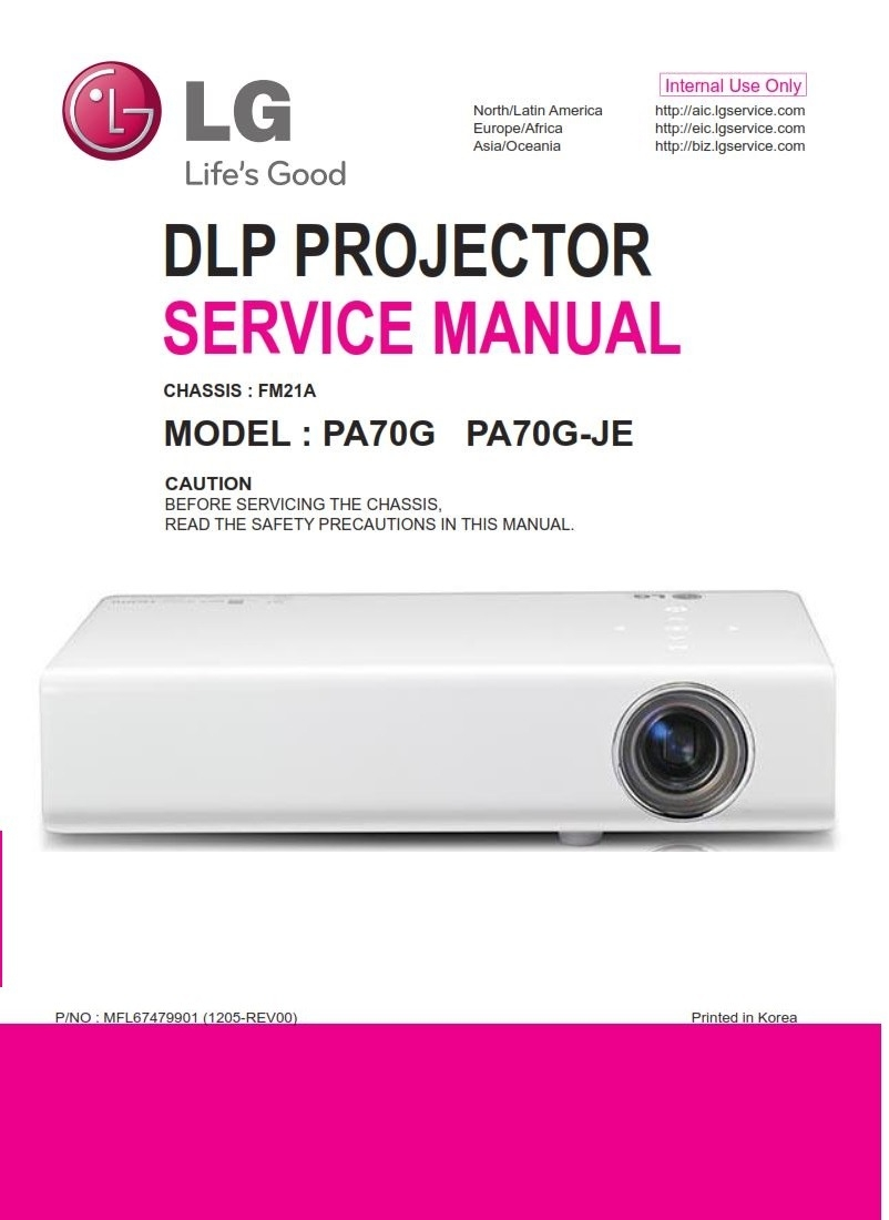 Lg Pa70g Dlp Projector Service Manual And Repair Guide