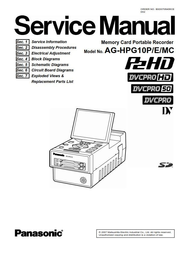Panasonic AG-HPG10 Portable Player Recorder Service Manual
