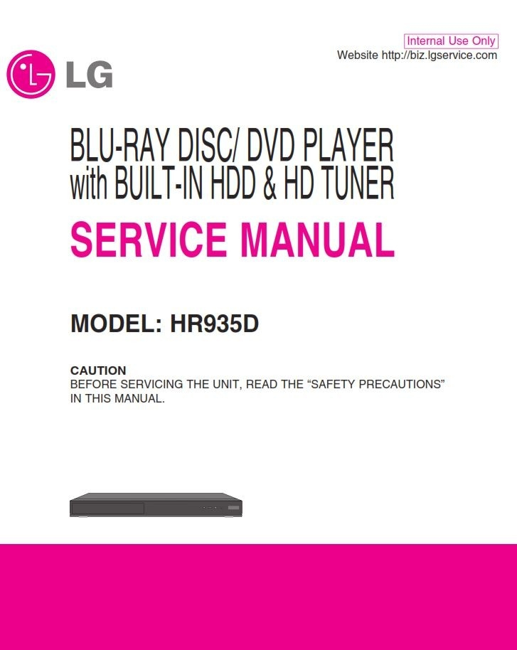 Lg Hr935d Blu Ray Dvd Hdd Recorder Combo Service Manual