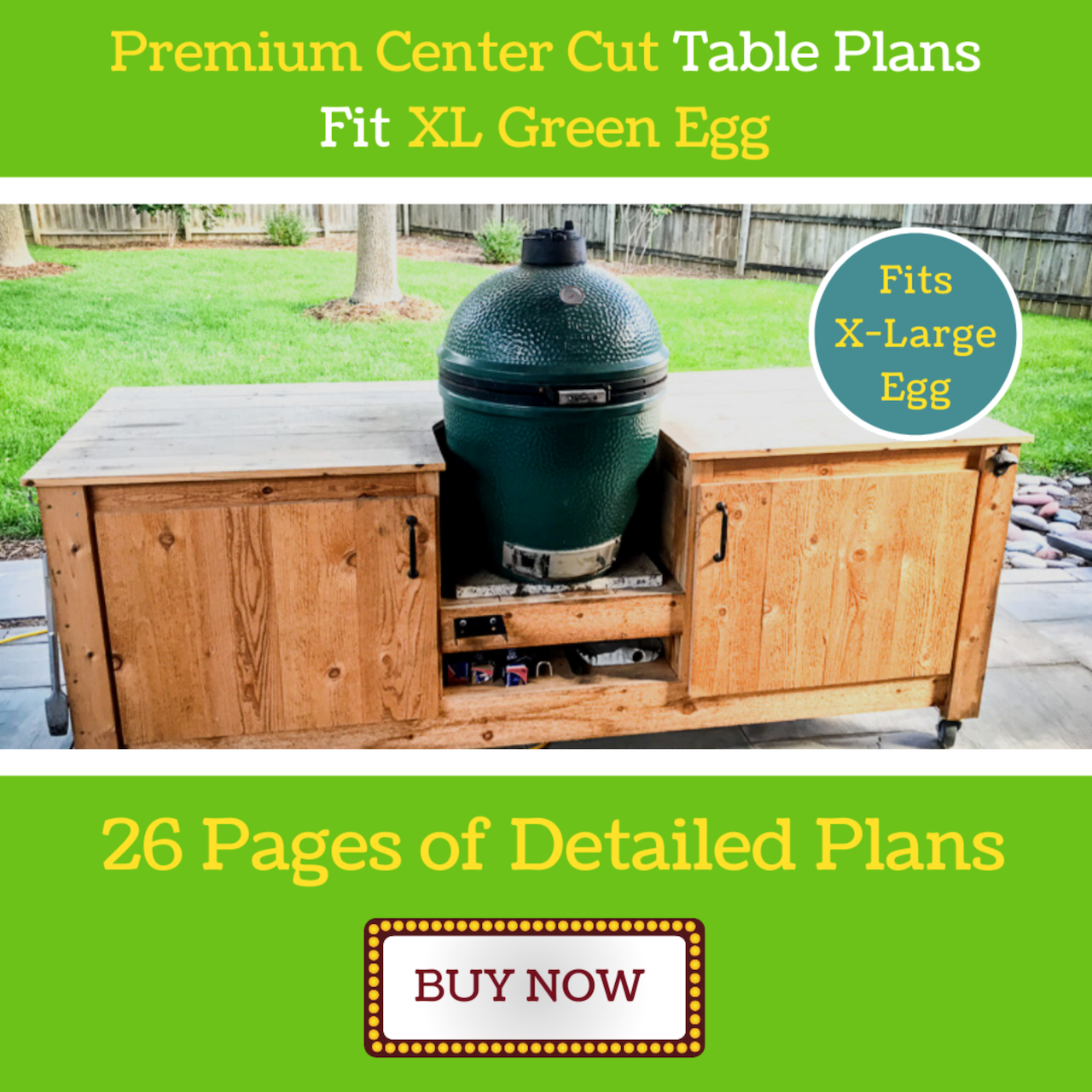 Premium Center Cut Table for XL Green Egg