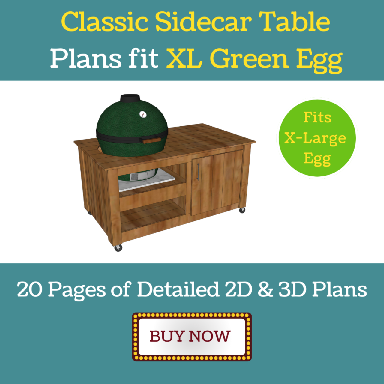 Sidecar Grill Table Plans for XL Green Egg
