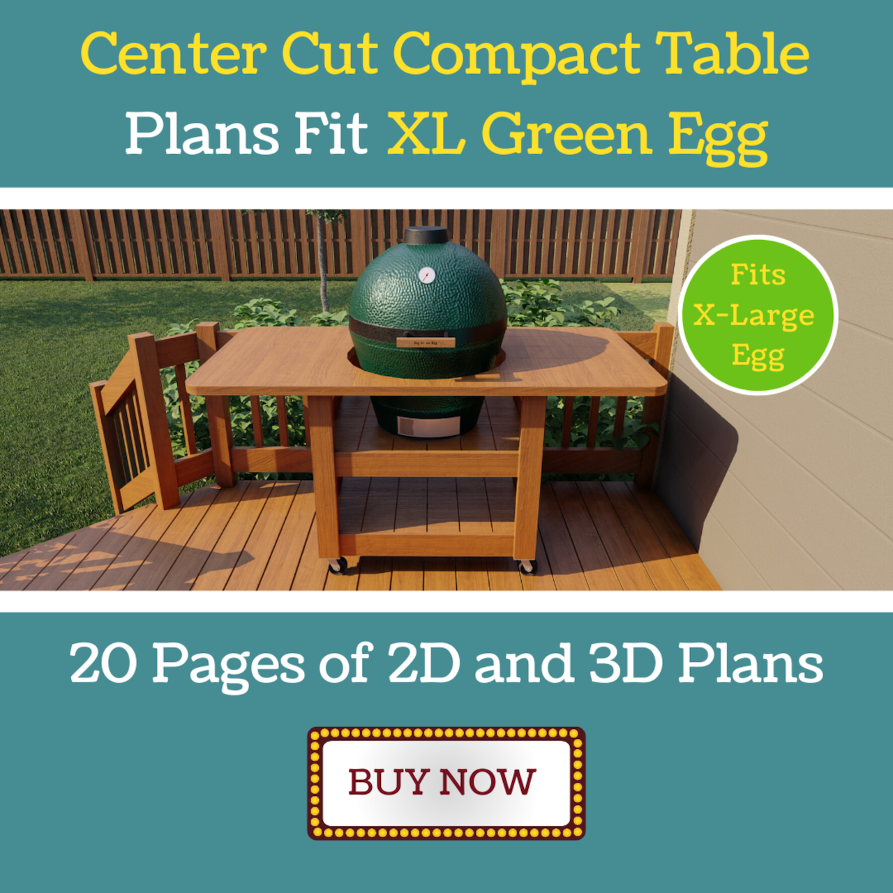 Compact Center Cut Table for XL Green Egg