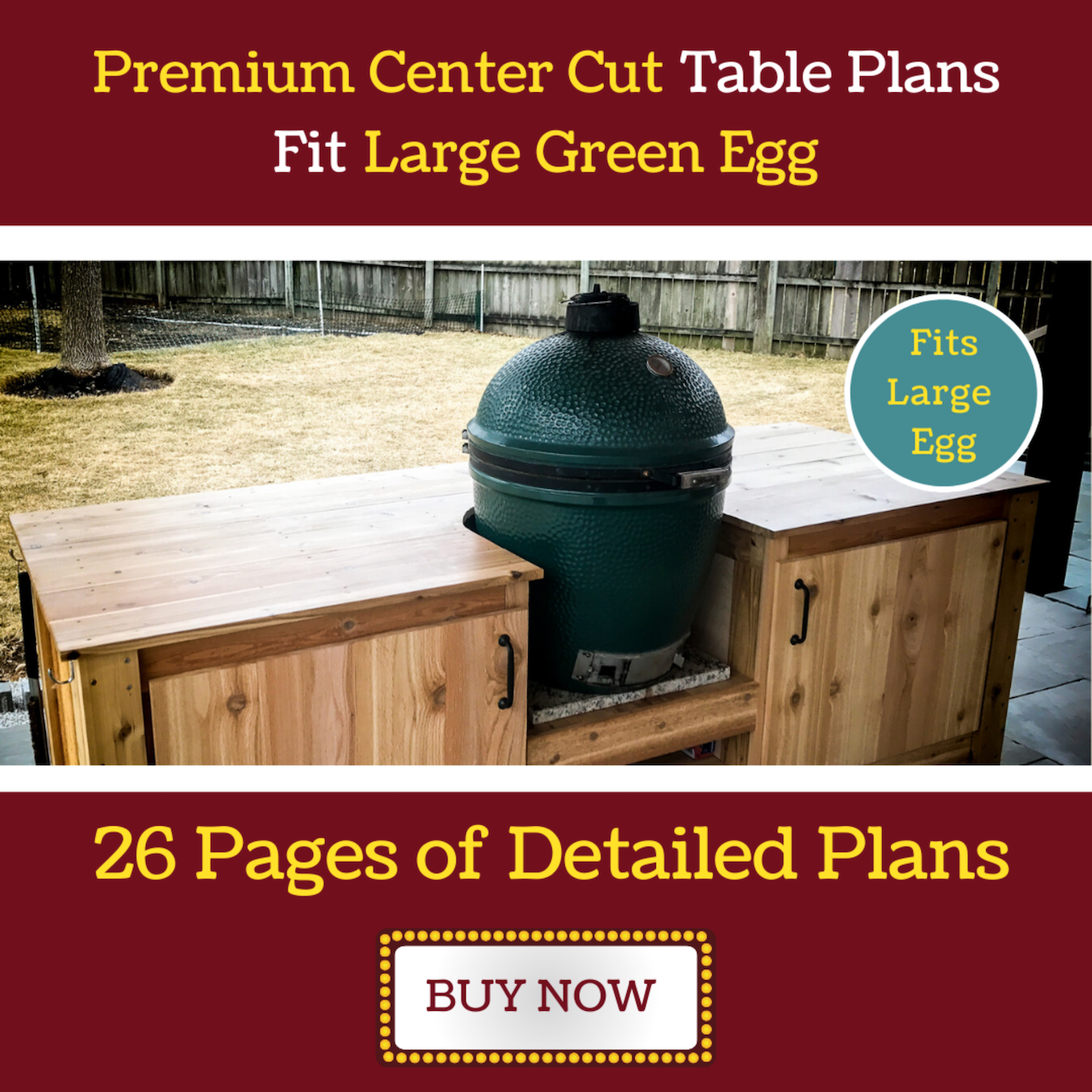 Premium Center Cut Table for Large Green Egg