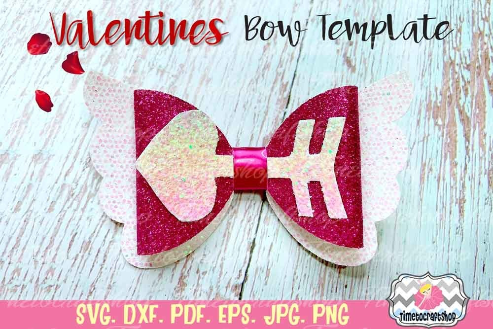 Cricut SVG SVG Files Valentines Day Bow Open Hearts Bow Template SVG Bow Template