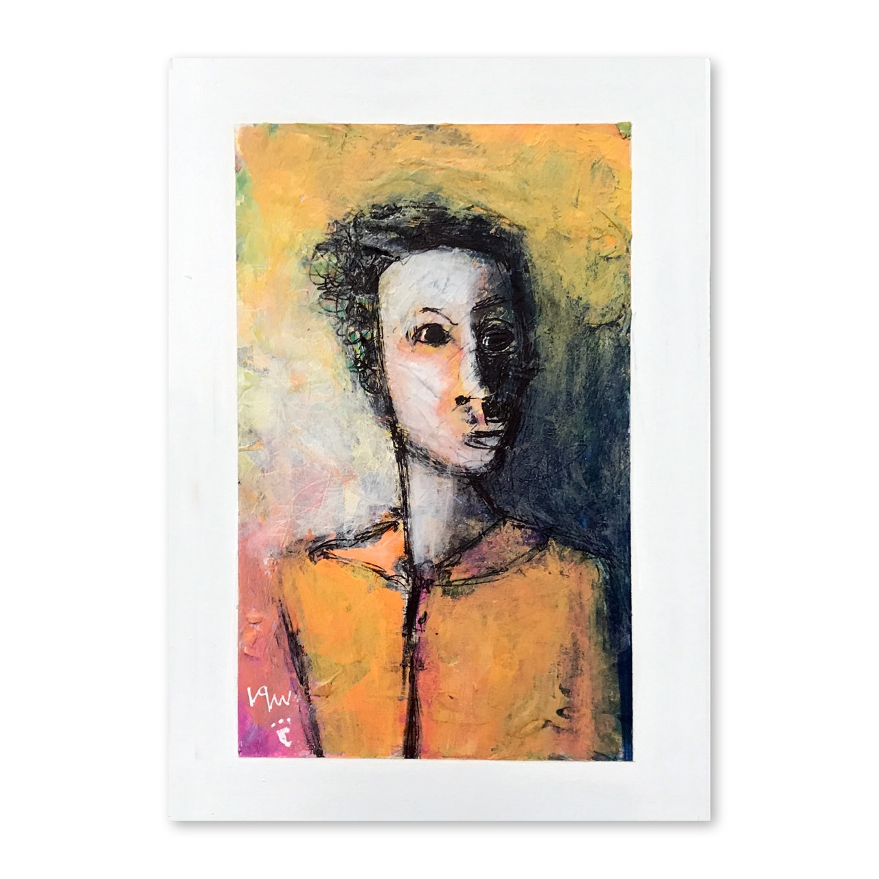 Original 5 x 7 Abstract Portrait With Mat