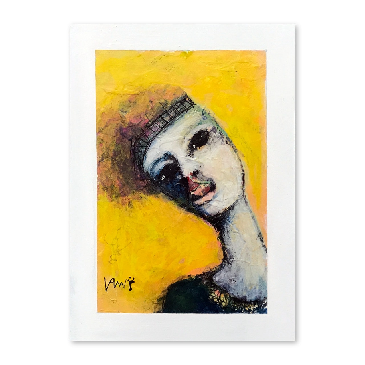 Original 5 x 7 Abstract Portrait With 8 x 10 Mat