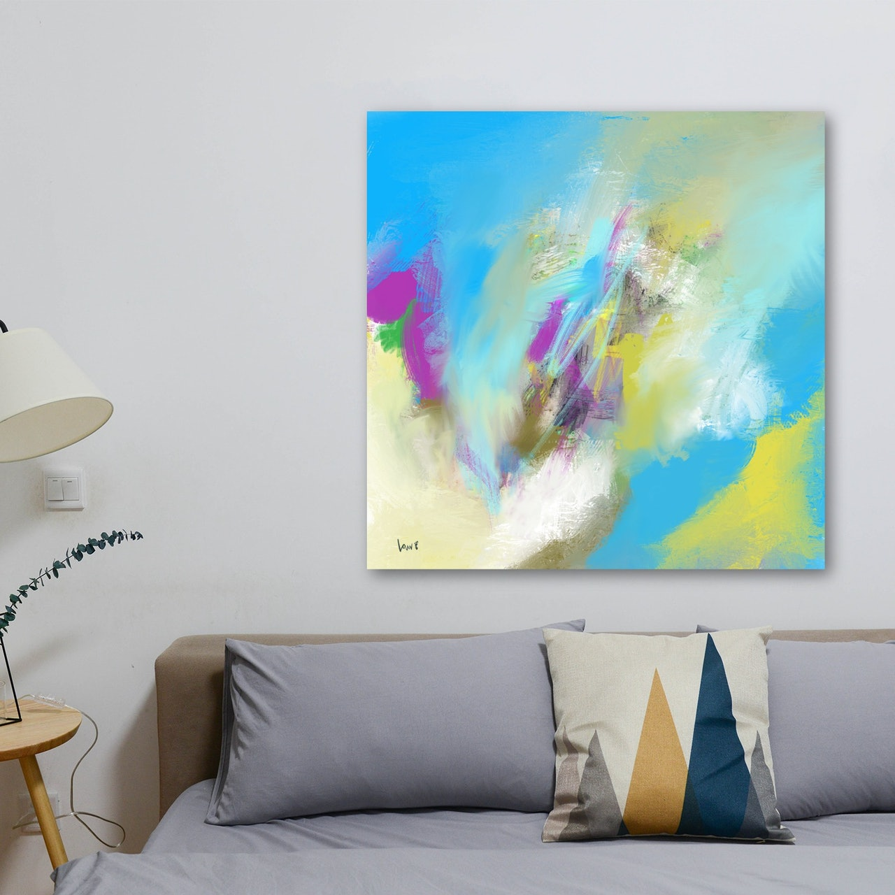 Powder Blue Large Abstract Pay What You Want