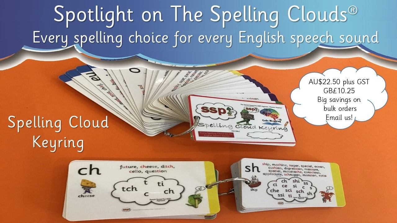 Spelling Cloud Keyring, displaying all Spelling Choices, for every Speech Sound!