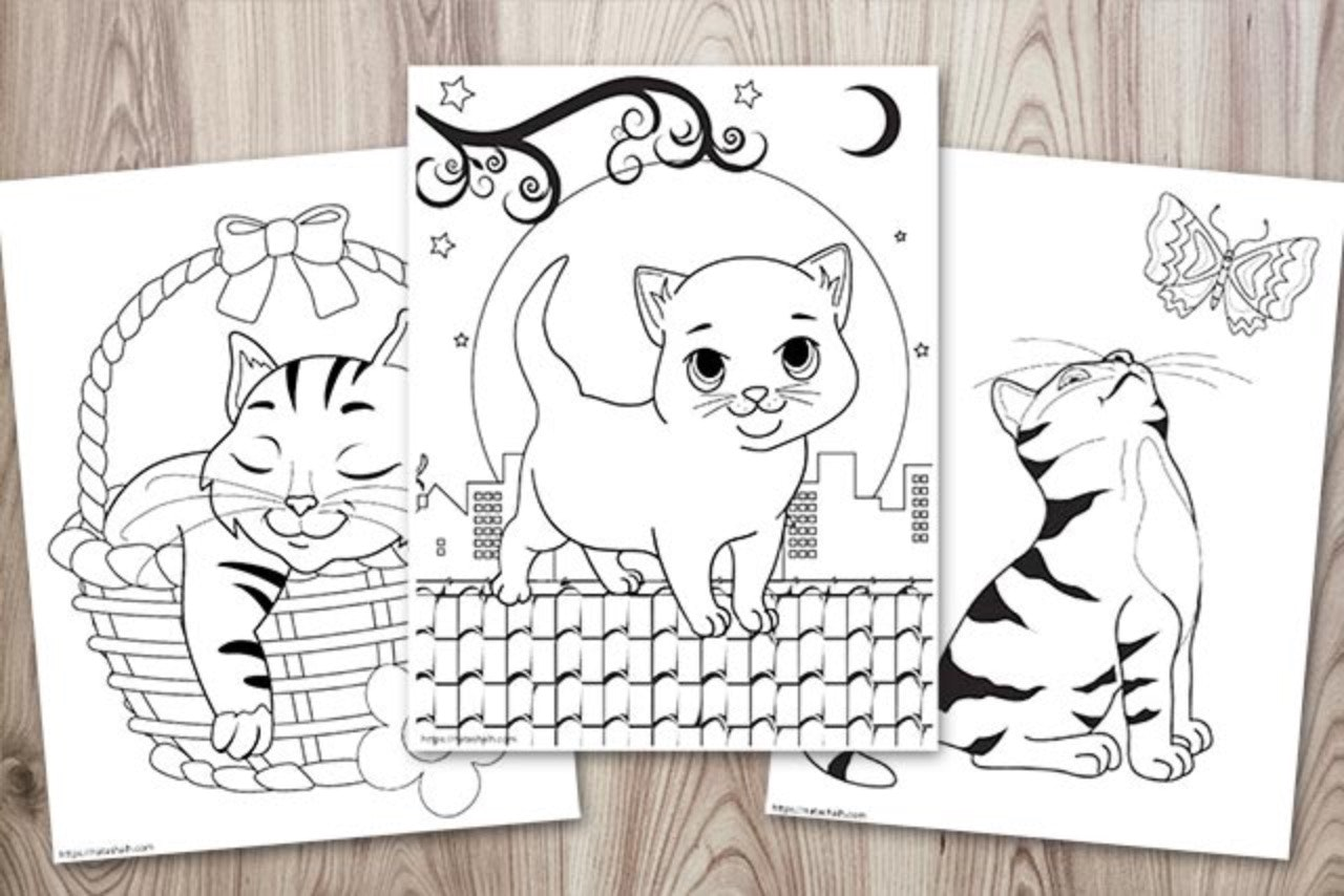Super Cute Cat Coloring Pages Easy No Prep Kids Activity The