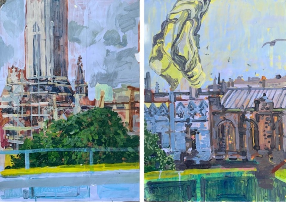 Julian Vilarrubi, St. Peter's Church I (diptych)
