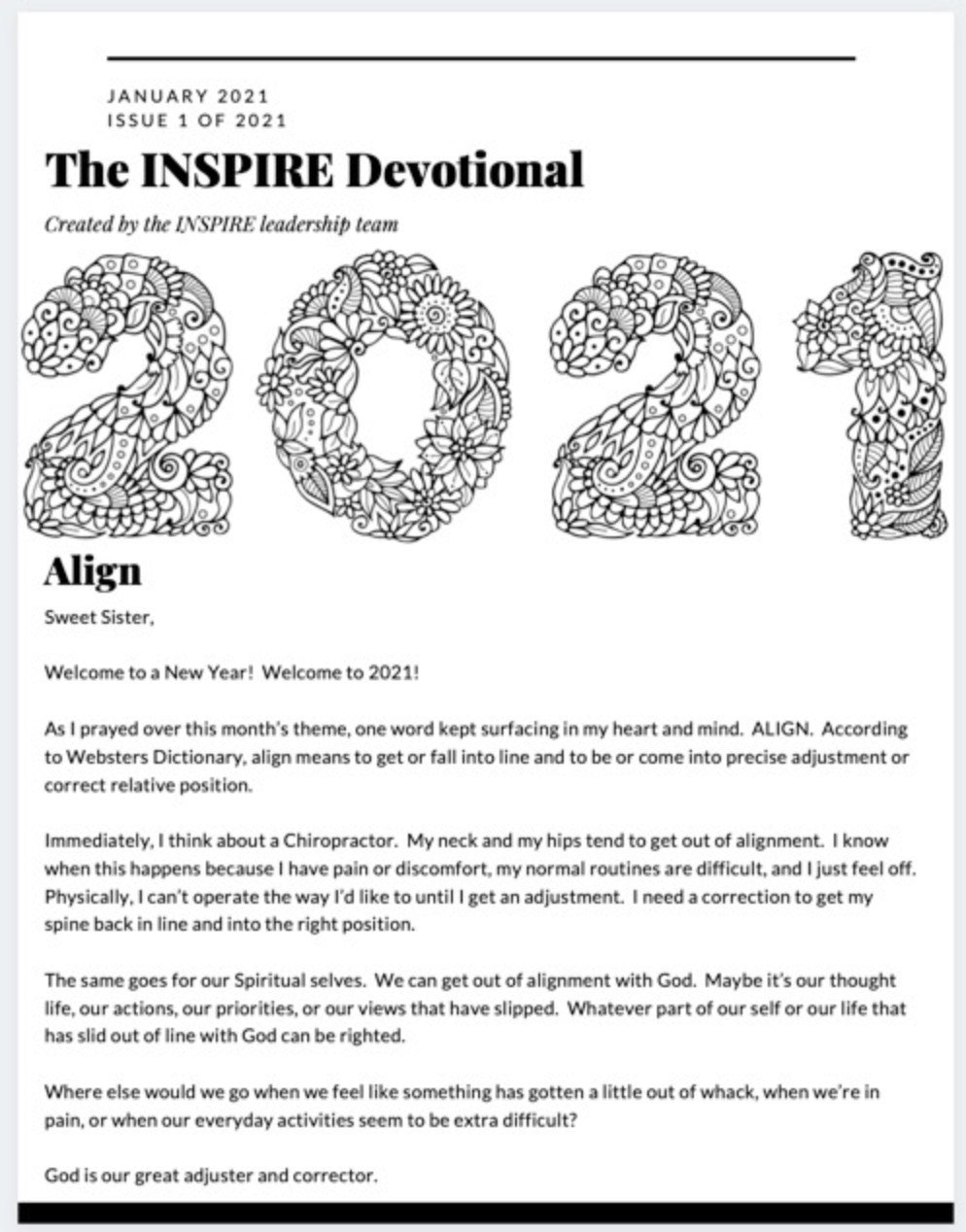 January 2021 The INSPIRE Devotional:  Align