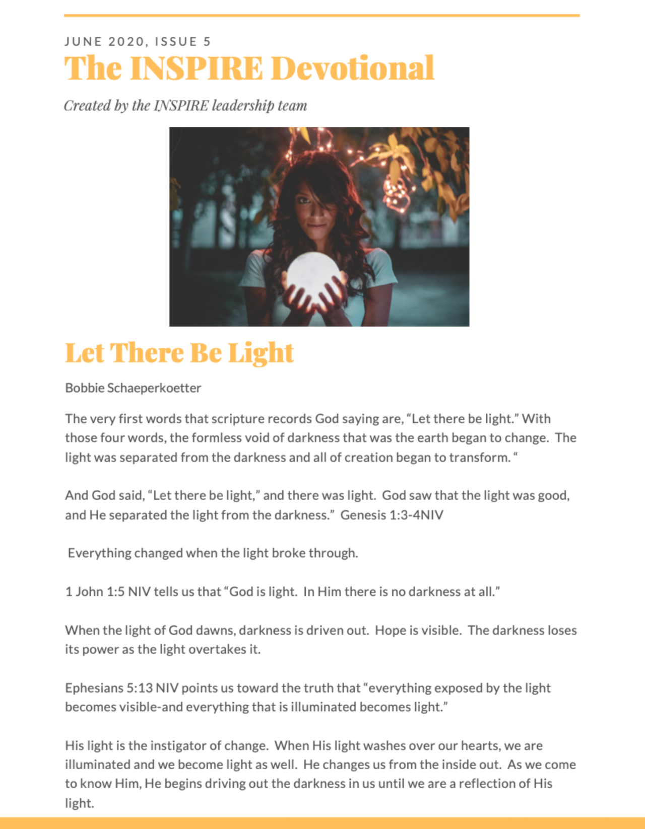 June 2020 The INSPIRE Devotional:  Let There Be Light