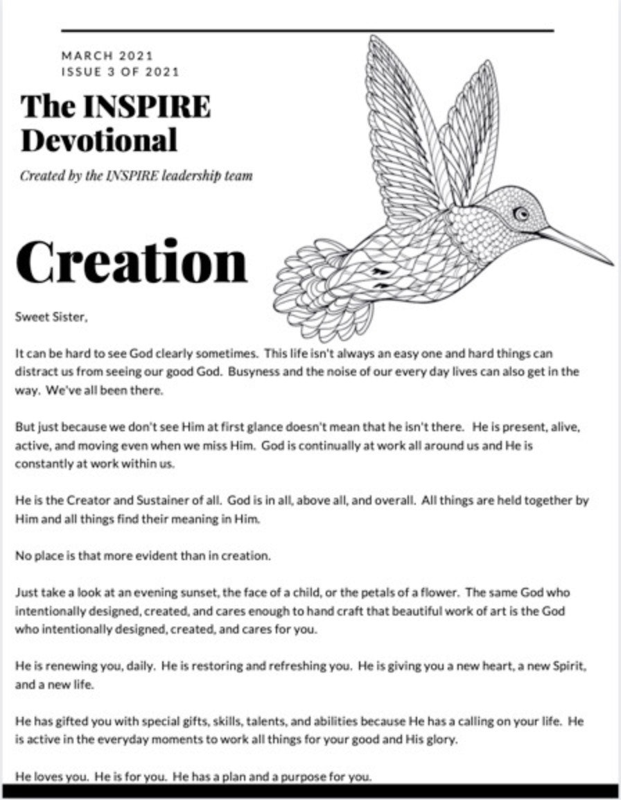 Printed and Shipped copy of the March 2021 INSPIRE Creation Devotional and Printables