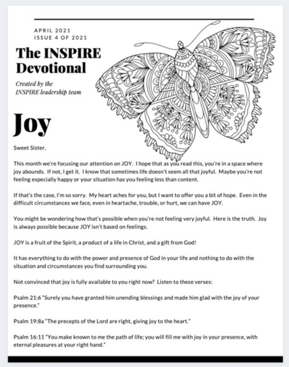 Printed and Shipped copy of the April 2021 INSPIRE Joy Devotional and Printables