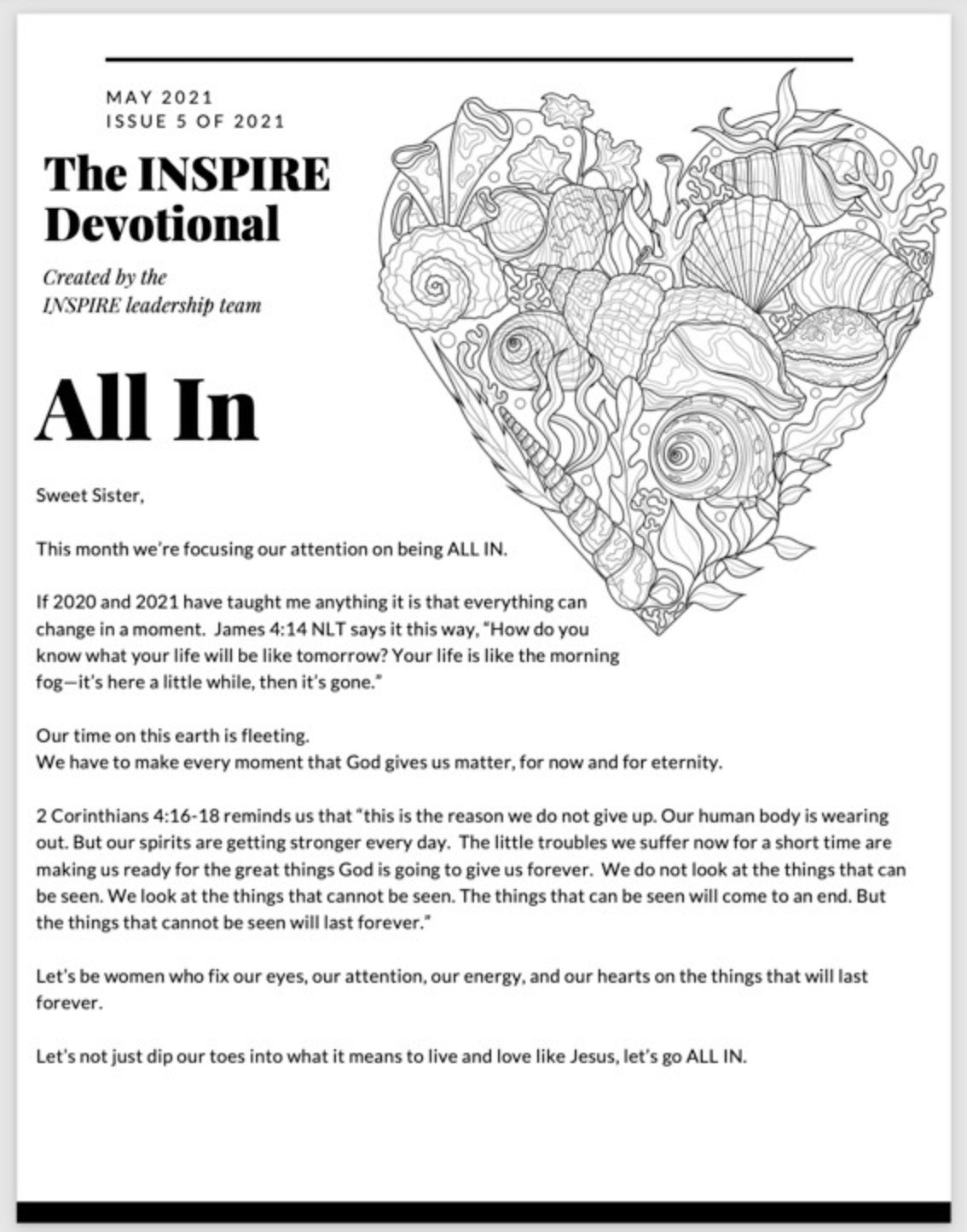 Printed and Shipped copy of the May 2021 INSPIRE All In Devotional and Printables