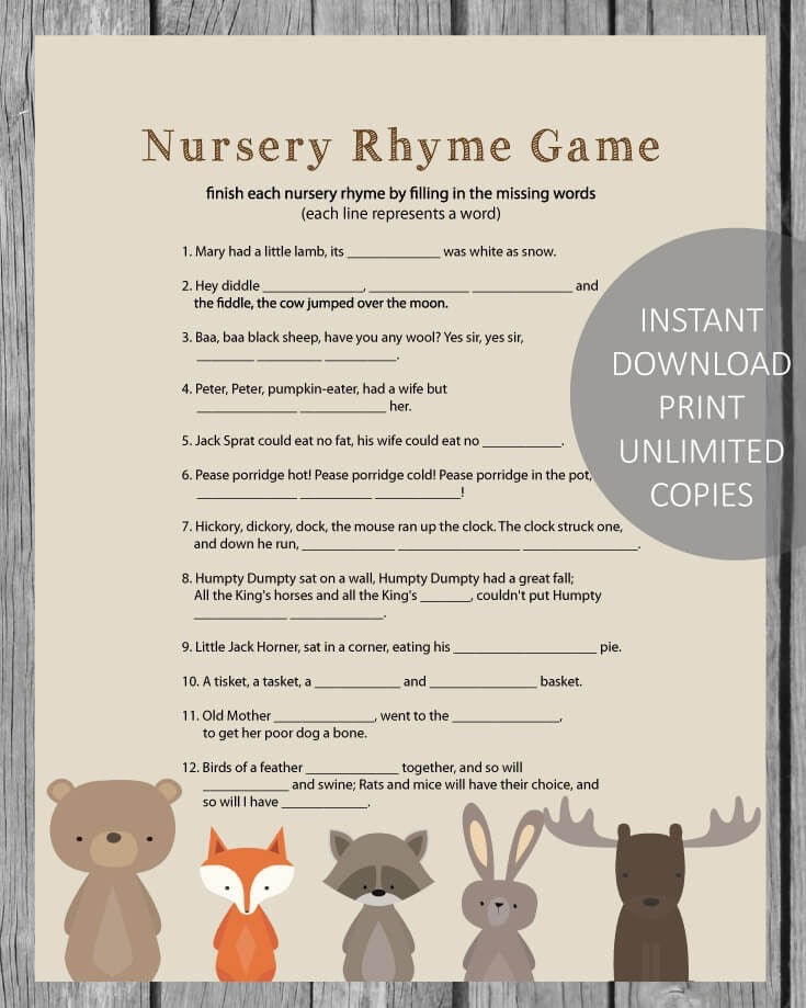 Woodland Animals Printable Baby Shower Nursery Rhyme